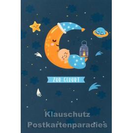 Doppelkarte von Taurus | Zur Geburt (hellblau) - Mond mit Baby