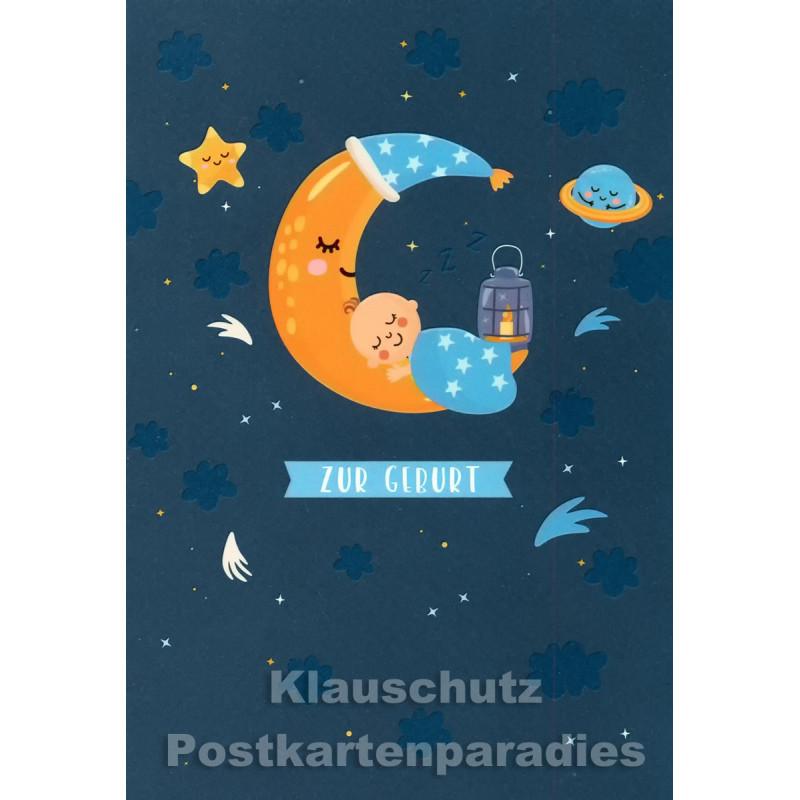 Doppelkarte von Taurus   Zur Geburt (hellblau) - Mond mit Baby