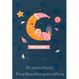 Doppelkarte von Taurus | Zur Geburt (rosa) - Mond mit Baby