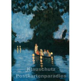Kunstkarte   Otto Modersohn   Lampionfahrt auf der Wümme
