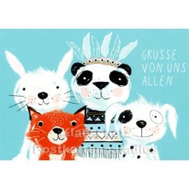 Altstadthaus Kinder Postkarte | Grüße von uns allen
