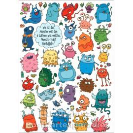 SkoKo Wimmelbild Postkarte mit Monstern