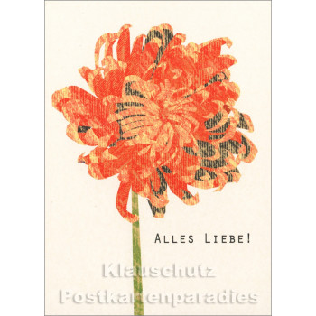 Holzschliffpappe Postkarte von Studio Blankensteyn | Blume - Alles Liebe!