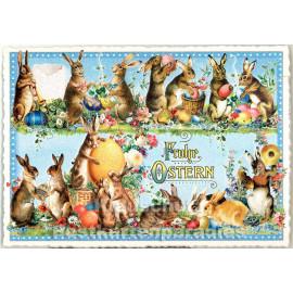 ActeTre Retro Glitterkarte - Frohe Ostern Osterhasen