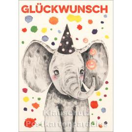 Holzschliffpappe Postkarte | Glückwunsch Elefant (Edition BO)