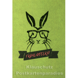 Doppelkarte Ostern | Frohe Ostern - Hase mit Brille