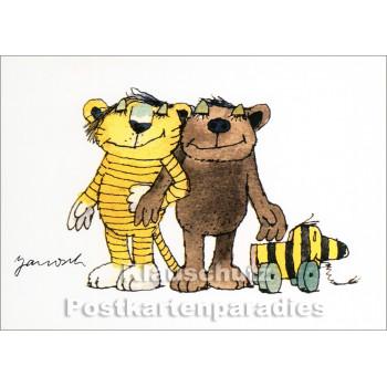 Janosch Postkarte von Little Tiger - Tiger, Bär und Tigerente