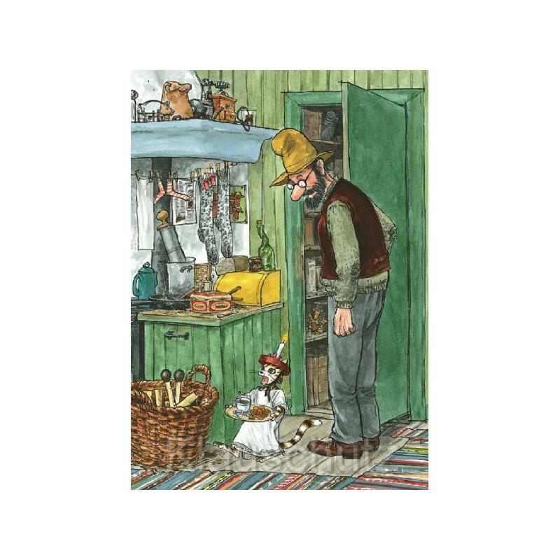 Pettersson und Findus mit Weihnachtsfrühstück - Weihnachtskarten von Discordia
