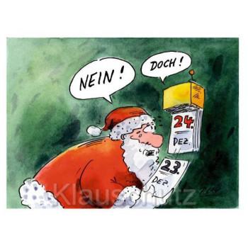 Weihnachtsmann am 24. Dezember - Peter Gaymann Weihnachtskarte / Postkarte
