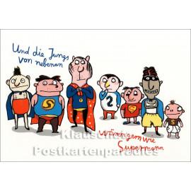 Postkarte aus dem 'Peter Hammer Verlag' von Nadia Budde - Jungs und Supermann