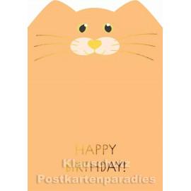 Goldfarbene Cityproducts Geburtstagskarte mit Stanzung | Katze | Happy Birthday