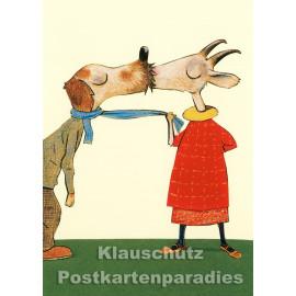 Postkarte aus dem 'Peter Hammer Verlag' von Wolf Erlbruch - Ziege / Küssen
