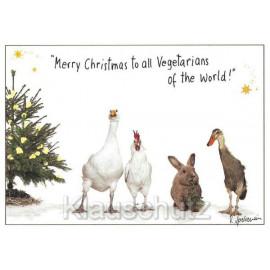 Weihnachtskarte mit Tieren - Merry Christmas to all Vegetarians of the world!