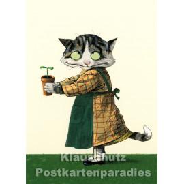 Postkarte aus dem 'Peter Hammer Verlag' von Wolf Erlbruch - Katze / Setzling