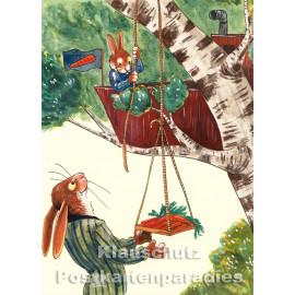 Postkarte aus dem 'Peter Hammer Verlag' von Leonard Erlbruch - Baumhaus