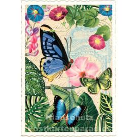 Retro Glitterkarte von ActeTre | Blumen und Schmetterlinge
