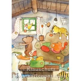 Postkarte von Janosch | Tiger und Bär zuhause