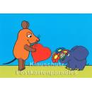 Maus und Elefant gratulieren mit Herz und Blumenstrauß - Postkarte