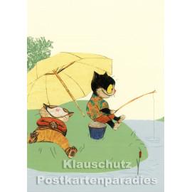Postkarte aus dem 'Peter Hammer Verlag' von Wolf Erlbruch - Angelvergnügen