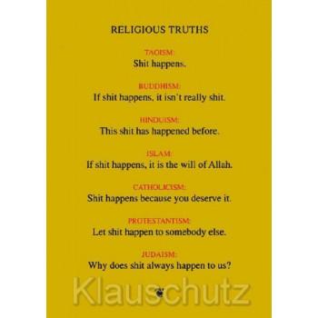 Spirituelle Postkarte: Religious Truths ... Taoism ... Buddhism ... Hinduism ... Islam ... Catholicism ... Protestantism ... Jud