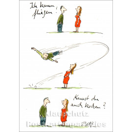 Postkarte Peter Gaymann | Ich kann fliegen