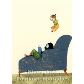 Sesselattacke | Postkarte von Wolf Erlbruch aus dem Hammer-Verlag