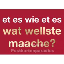 Cityproducts Köln Postkarte mit goldfarbenem Text: Et es wie et es