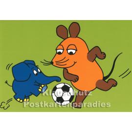 Postkarte | Maus und Elefant beim Fußballspiel