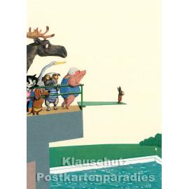 Sprungturm | Postkarte von Wolf Erlbruch aus dem Hammer-Verlag