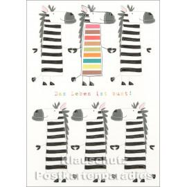 Geburtstag Doppelkarte mit Zebra - Das Leben ist bunt