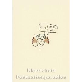 Happy Birthday Eule | Buntstift Spitzer Doppelkarte