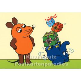 Postkarte zum Geburtstag | Maus und Elefant mit Geburtstagsgeschenken