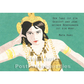 Holzschliffpappe Zitat Postkarte von Studio Blankensteyn | Mata Hari