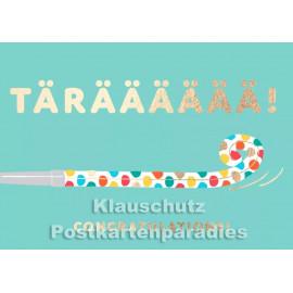Tärääääää - Doppelkarte zum Geburtstag von Cityproducts mit goldfarbenem Text