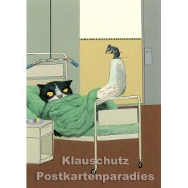 Gipsbein | Postkarte von Wolf Erlbruch aus dem Peter-Hammer-Verlag