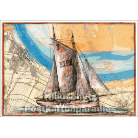 Küsten Postkarte mit Segler von Ole West / Tidenhub Verlag