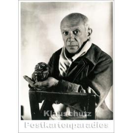 Taurus Foto Kunst Postkarte   Pablo Picasso mit Eule