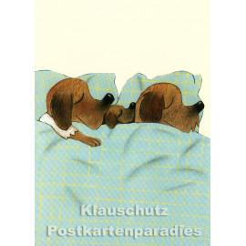 Familienbett | Postkarte von Wolf Erlbruch aus dem Peter-Hammer-Verlag