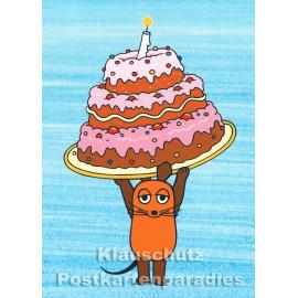 Die Maus feiert Geburtstag mit einer Geburtstagstorte! | Geburtstagskarte