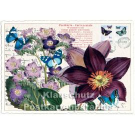 Retro Glitterkarten Edition Tausendschön | Blumen - Clematis