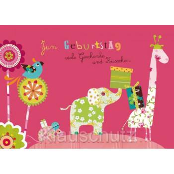 Zum Geburtstag viele Geschenke und Küsschen. Rosa Geburtstagskarte von Discordia