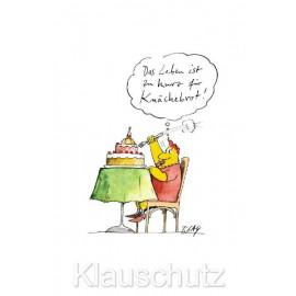 Das Leben ist zu kurz für Knäckebrot ! Lustige Peter Gaymann Diät Postkarte von Discordia