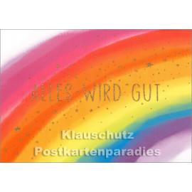 Mutmacher Postkarte von Taurus - Alles wird gut (mit Regenbogen)