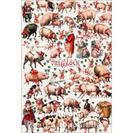Doppelkarte mit Schweinchen aus der Edition Tausendschön - Viel Glück