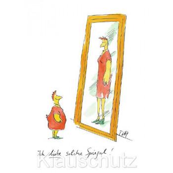 Ich liebe solche Spiegel - Peter Gaymann Hühner Postkarte zum Thema Diät
