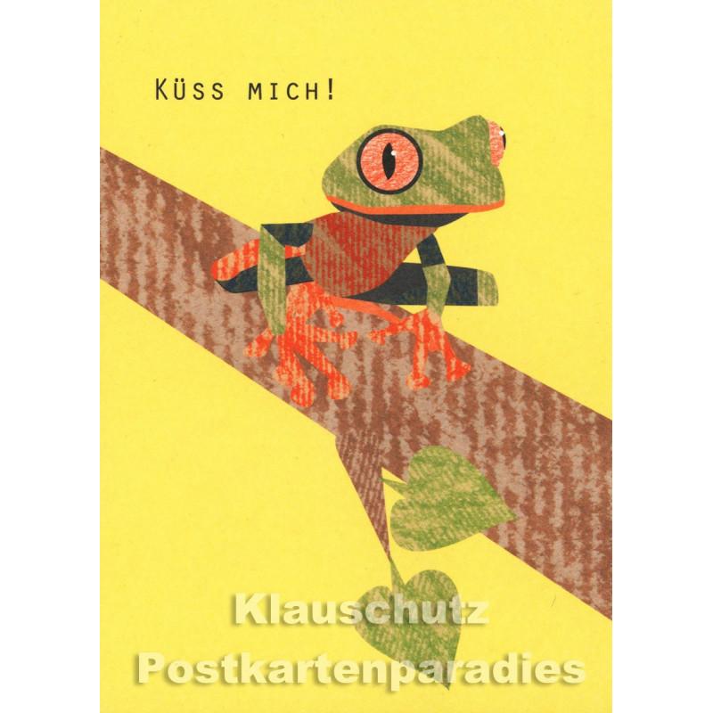 Holzschliffpappe Postkarte von Studio Blankensteyn | Frosch - Küss mich!