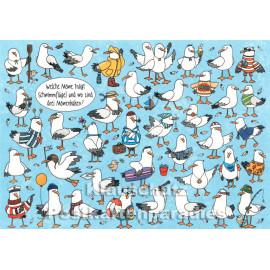 Wimmelbild Postkarte von SkoKo | Welche Möwe trägt Schwimmflügel?