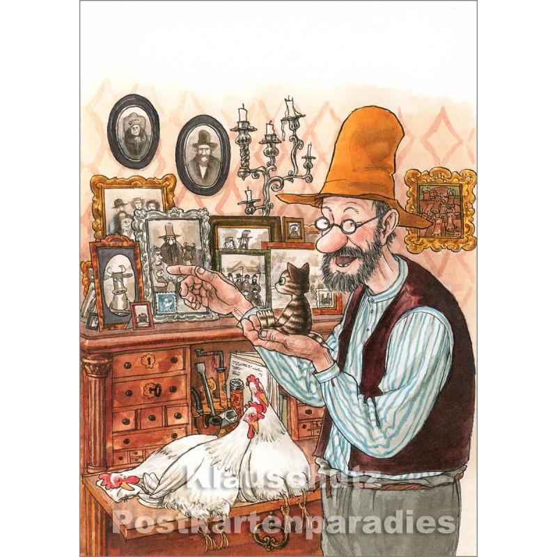 Postkarte - Pettersson und Findus schauen sich die Fotogalerie an