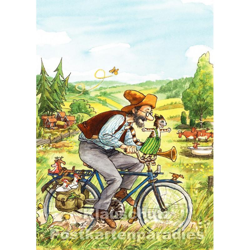 Pettersson und Findus fahren Fahrrad - Postkarte