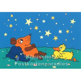 Postkarte | Maus und Elefant unterm Sternenhimmel